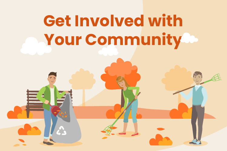 Illustration of team of people work to clean up local park