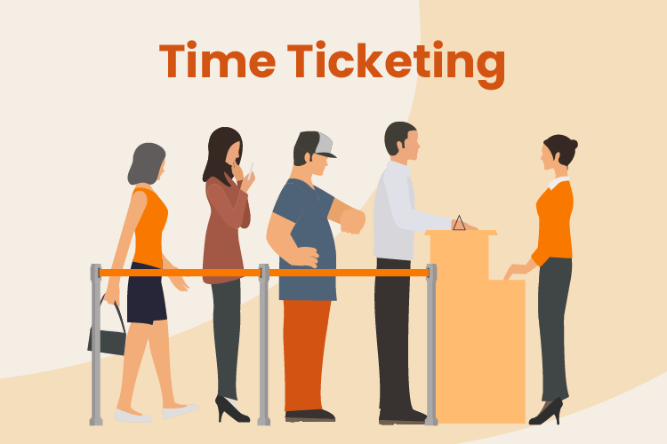 Guest wait in line for a museum with timed ticketing software