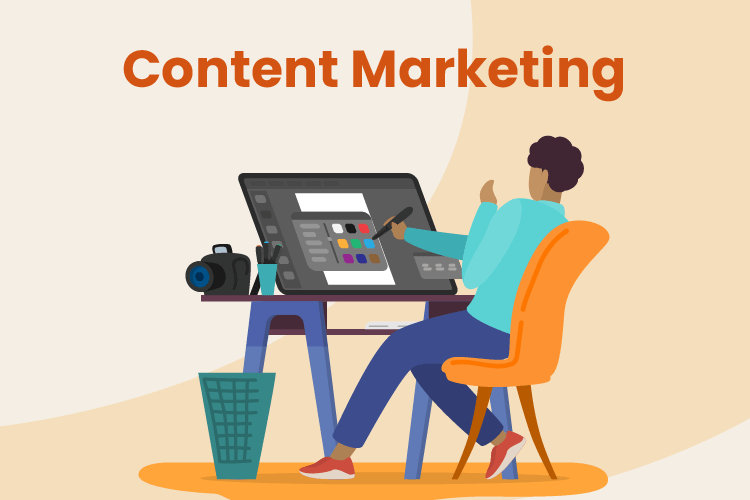 Illustration of person sitting at their computer designing the content marketing for their website