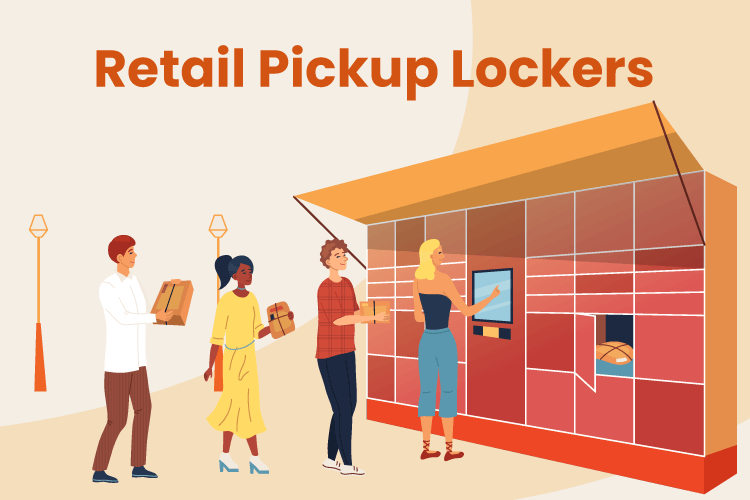 Illustration of retail pickup lockers outside of a store