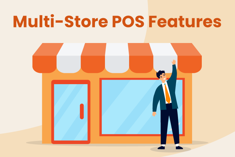 Illustration of man standing in front of retail store