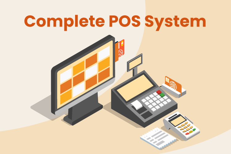Illustration with complete POS system including desktop, credit card machine, receipt printer, and scanner