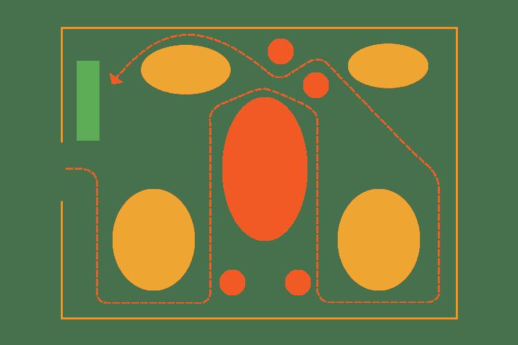 Retail map of angular floor design