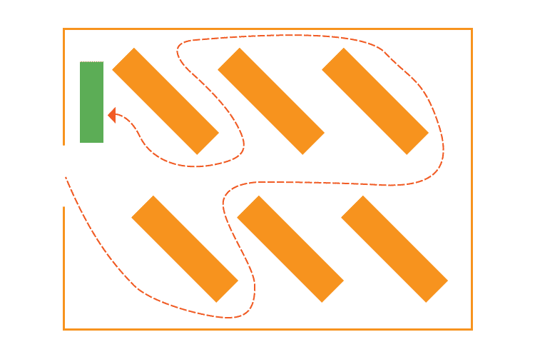 Retail floor map of diagonal store layout