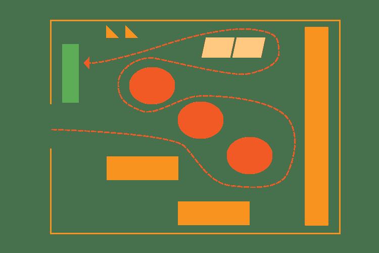 Retail floor plan map of free flow design