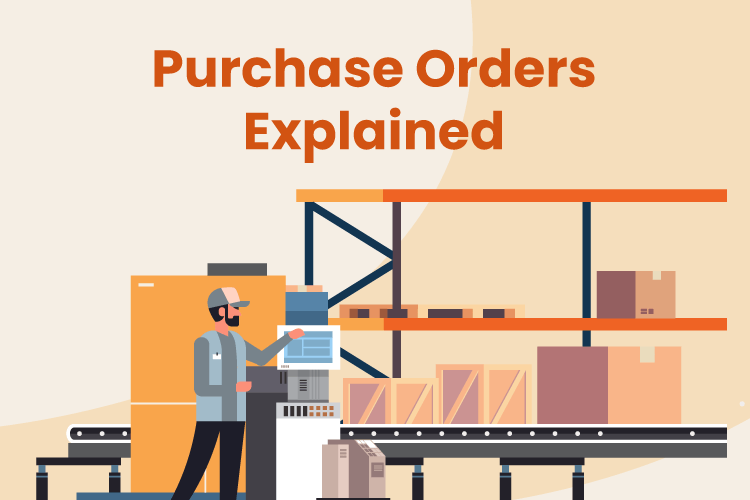 Illustration of how a purchase order works with a worker in a warehouse