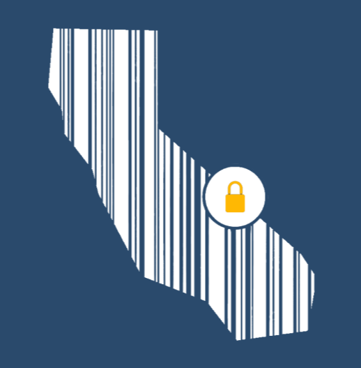The California Consumer Privacy Act logo with lock over barcode
