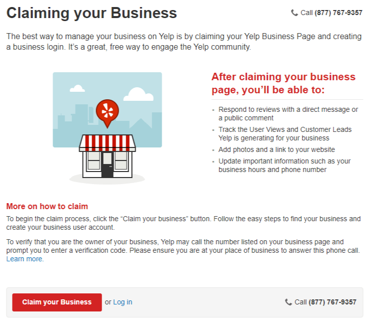 Claim My Business page on Yelp