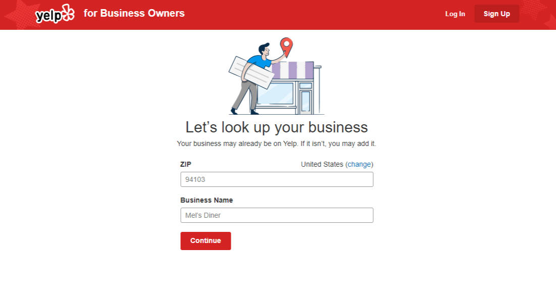 Register your business page on Yelp