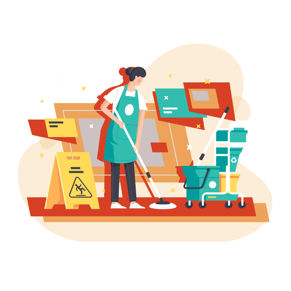 Illustration showing a shopkeeper keeping a clean and organized small business during COVID-19