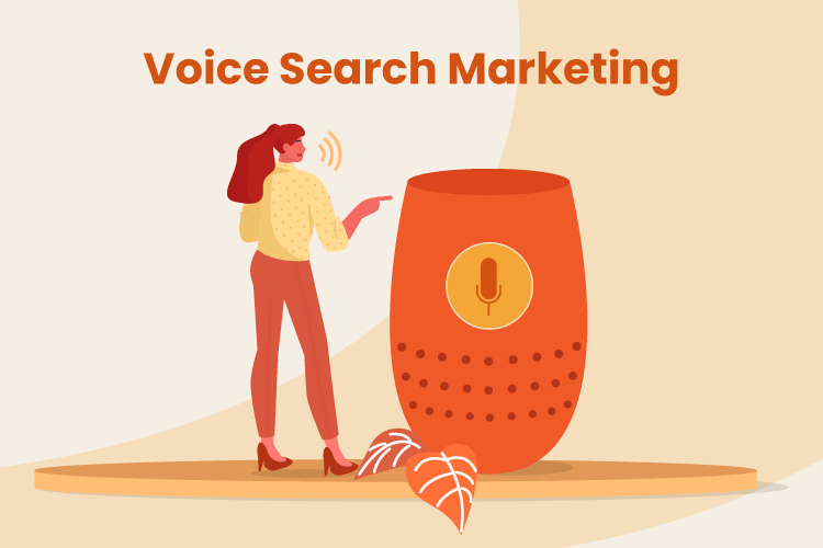 Woman stands next to large smart speaker used for voice search marketing