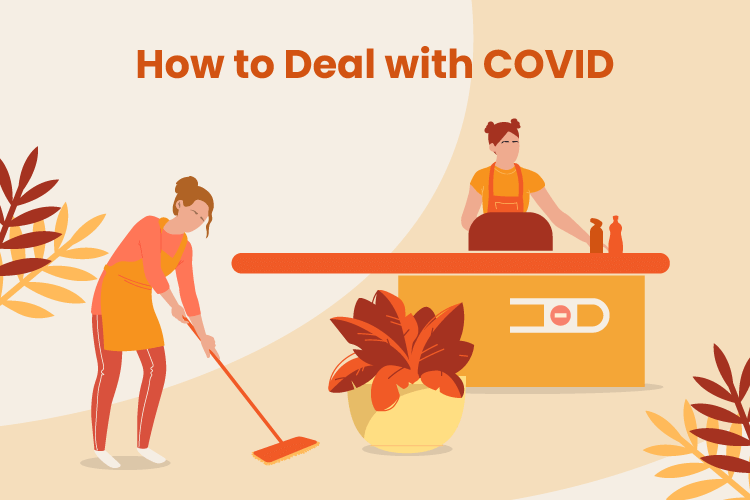 Employees clean a retail store to deal with COVID-19 pandemic