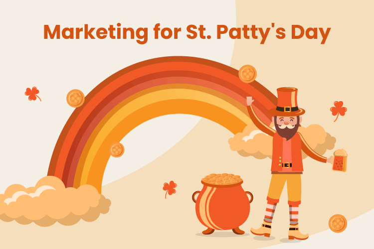 Happy leprechaun stands near pot of gold at the end of a rainbow in a St. Patrick's Day marketing campaign