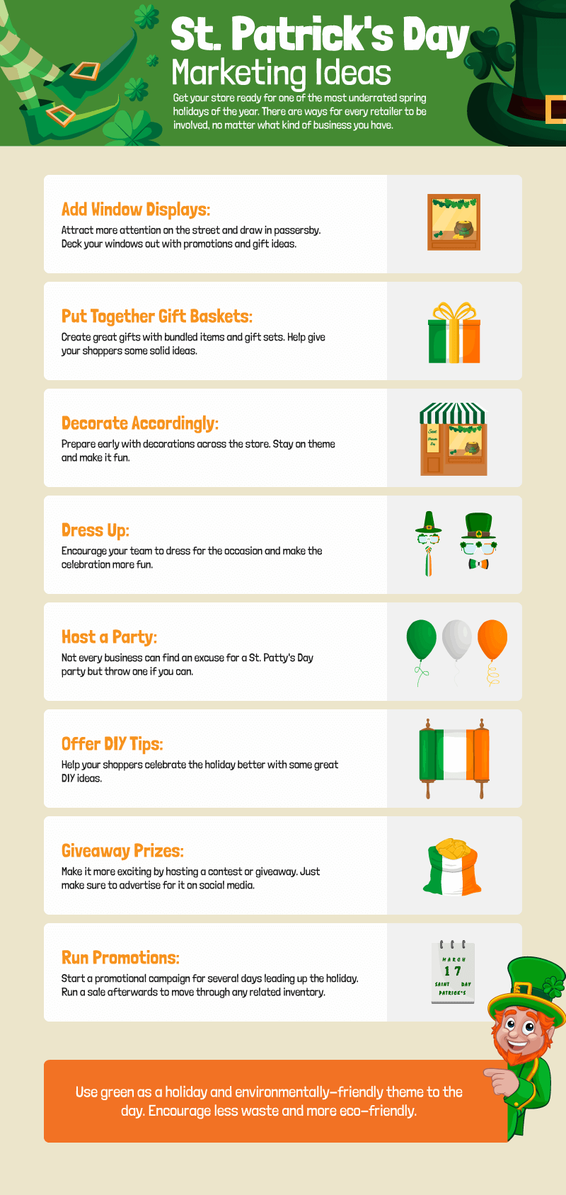 Infographic with 9 marketing ideas for St. Patrick's Day