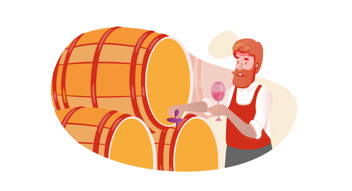 Illustration of man tasting wine from a cask at a vineyard