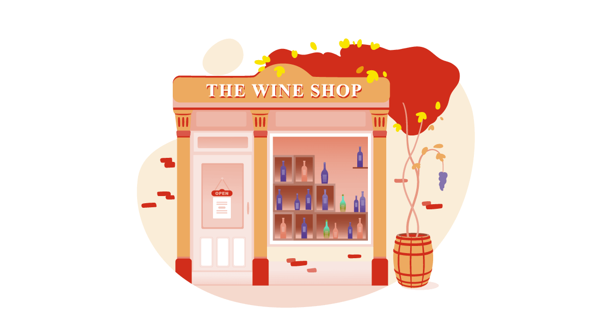 Illustration of winery product reaching a retail shop