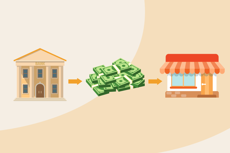 Illustration showing a bank lending money to a small business as part of the Express Business Loan Pilot Program