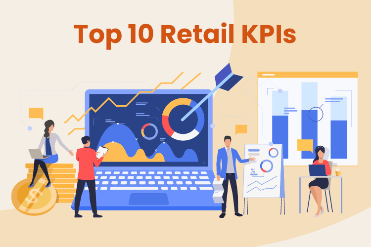Illustration with business owners using various important retail KPIs
