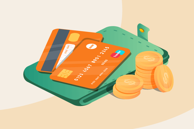 Illustration depicting credit cards and money due to VISA's new interchange rates