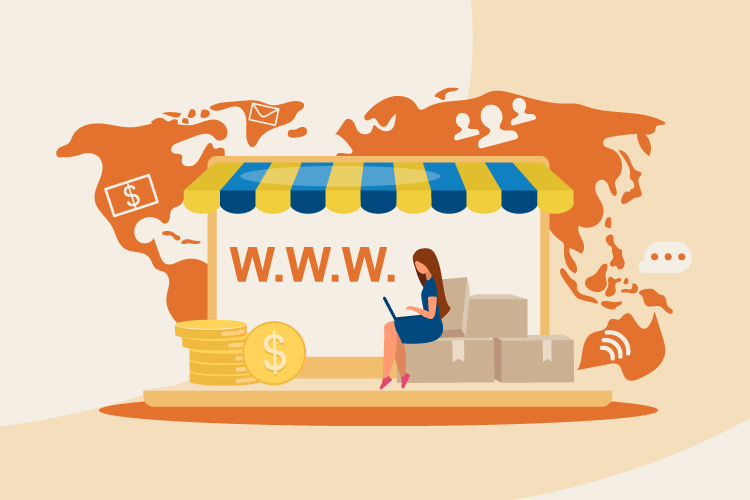 Illustration with website eCommerce virtual storefront across the map of the world