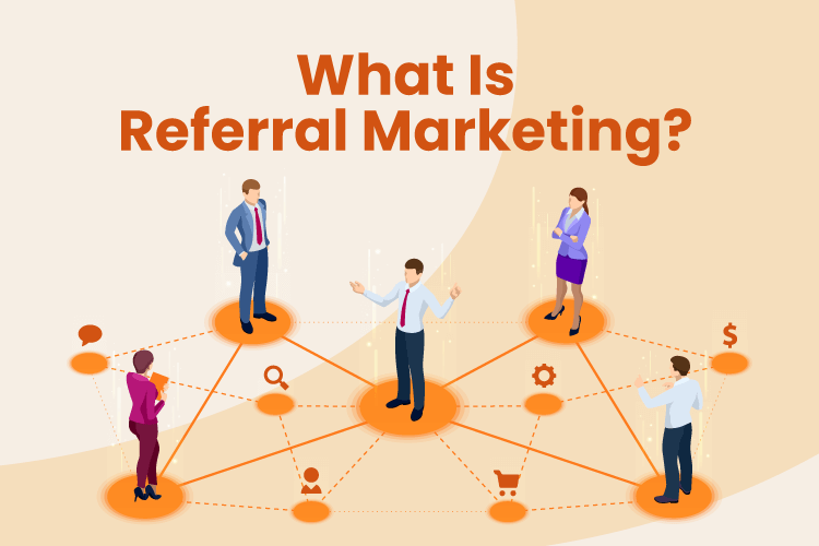 Image shows how referral marketing can spread to many different people