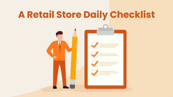 Image with business owner and retail store daily checklist