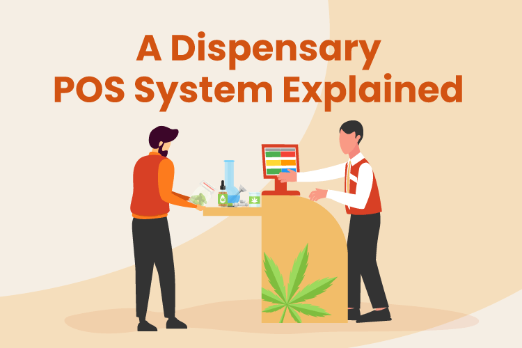 Illustration of what is a dispensary POS system with a cannabis store employee and shopper