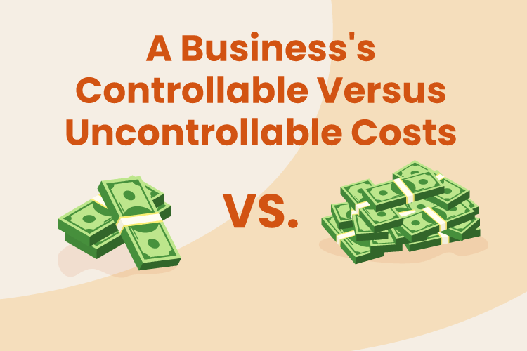 Stacks of money for both controllable and uncontrollable costs for a business