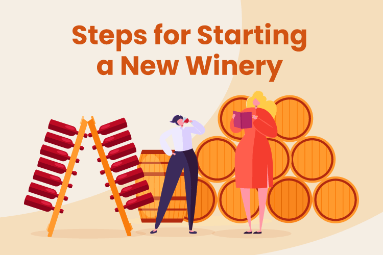 Illustration of winery owners starting a new winery business