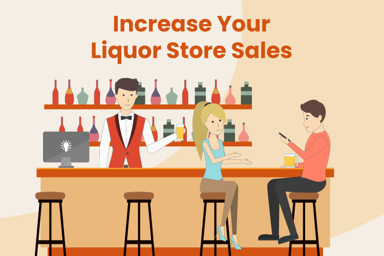 Illustration with liquor store bar to increase sales