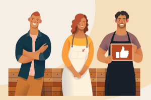 Illustrations of business owner team celebrating PPP Flexibility Act