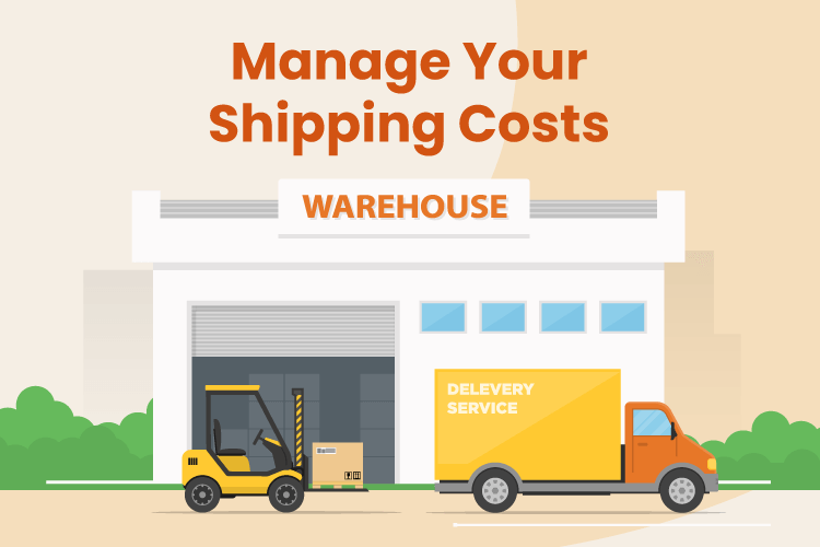Illustration of a truck leaving a shipping warehouse to help manage your shipping costs