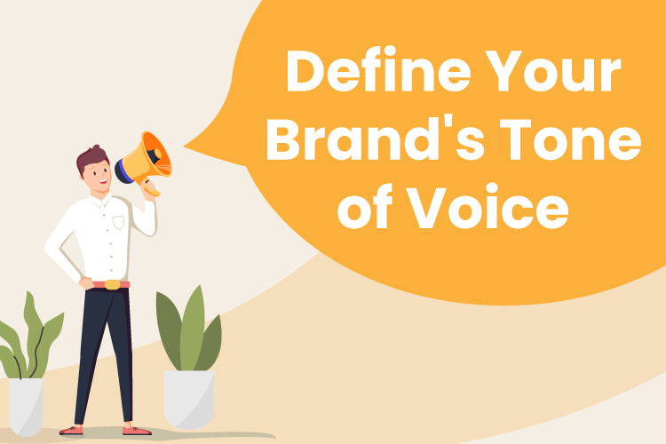 "Illustration of a man with a megaphone saying ""Define Your Brand's Tone of Voice"
