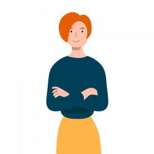 Illustration of red-haired woman with arms crossed next to a theme park POS review