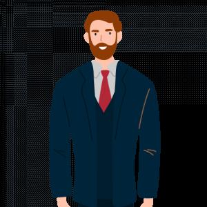 Illustration of hardware store owner