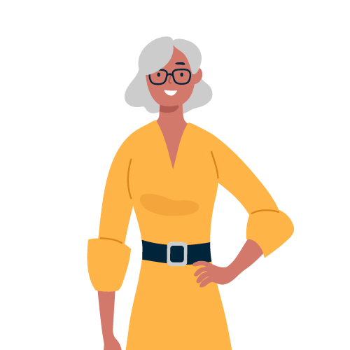 Older woman stands with hand on hip