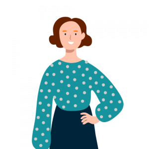 Illustration of a woman next to a review for museum software