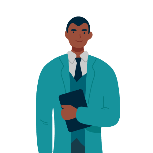 Illustration of man next to product review