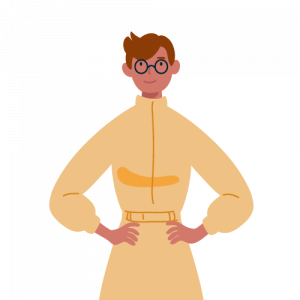 Illustration of a red headed man with glasses