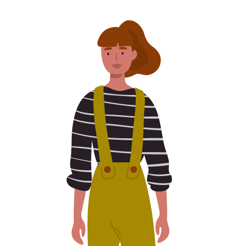 Illustration of young woman in overalls next to review