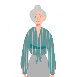 Illustration of older lady with white hair