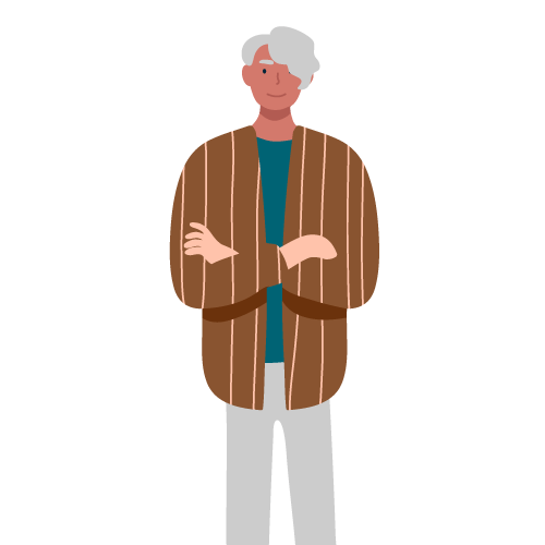 Illustration of white haired man next to a water park software review