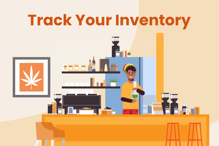 Illustration of man running a small smoke shop and taking inventory of products