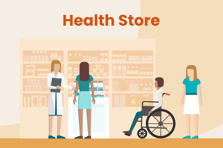 Illustration of guests mingling in a health store and talking to associates