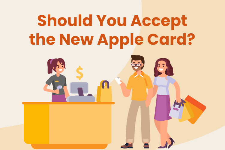 Couple goes to retail checkout counter to buy some items with their Apple Card