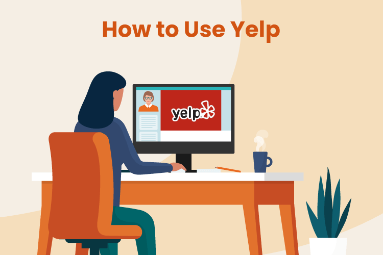 Image of business owner setting up business Yelp account online