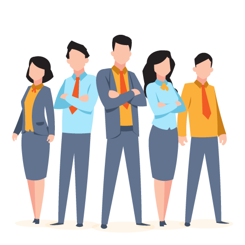 Illustration of team of workers