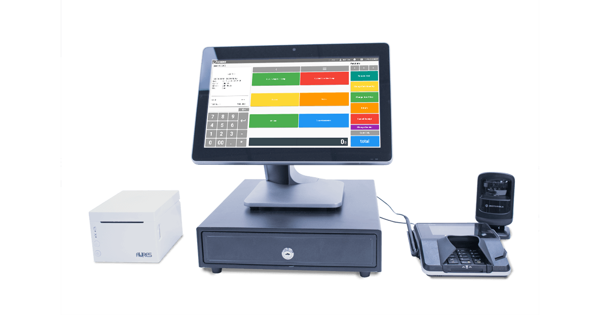 Dispensary POS desktop, receipt printer and mobile payments credit card machine