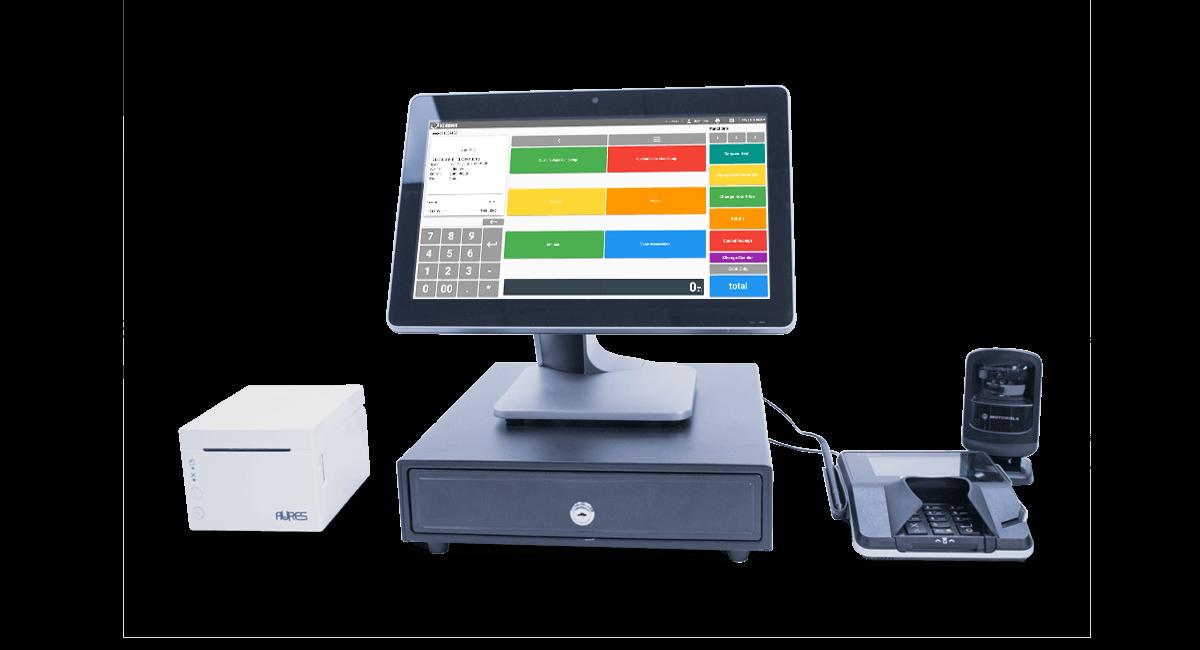 Dispensary POS desktop, receipt printer and mobile payments credit card machine