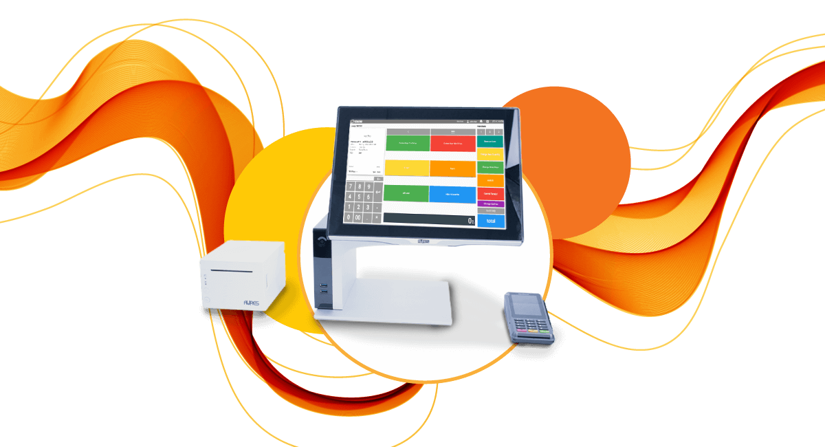 Theme park desktop POS with receipt printer and wireless credit card terminal